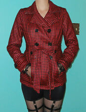 Red & Black Houndstooth Coat M pinup retro rockabilly jacket winter hollywood