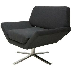 """35"""" W Occasional Chair Polished Stainless Steel Swivel Base Dark Grey Fabric"""