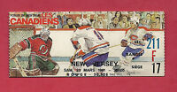 RARE 1991 CANADIENS MONTREAL VS NEW JERSEY DEVILS TICKET STUB
