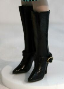 """Perfect 10 Black Leather Zip Up Boots 48mm for 16"""" Tyler Tonner, Monique Gold"""