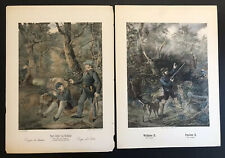 Lot Of 2 Antique Hand Colored Hunting Lithographs medium Folio Ca 1860 Berlin