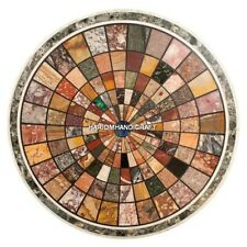 "24"" Round Marble Coffee Table Tops Multi Marquetry Inlay Dining Room Decor H5075"