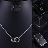 Ringe Kette Halskette 925 Sterling Silber Damen ❤ SWAROVSKI ELEMENTS ❤ inkl ETUI