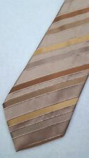 Bugatchi Uomo Tie Brown Beige Striped New Silk Mens Necktie Nwt Accessory Italy