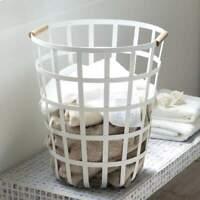 Yamazaki Wäschekorb Wäschesammler Metall weiß Gitter mit Holz Tosca 45cm hoch