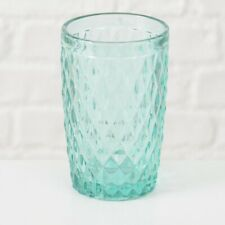 Drinking Glass Milano 300 ML Lozenges Turquoise Green Juice Frosted 13 CM