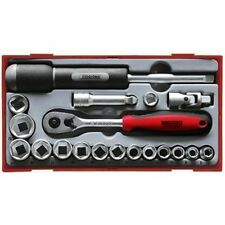 Teng Tools 19 Piece 3/8 Drive Socket Ratchet Extension Spinner Tool Set In Case