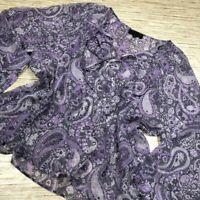 S-110~ Nili Lotan Womens Blouse Purple Paisley Floral Long Slv Scoop 100% Silk M