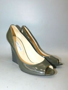 Jimmy Choo London Olive Green Leather Heels (made in Italy) size eu 39 / US 8