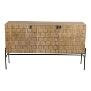 """51.5"""" L Sideboard Carved Transitional Iron Base & Pulls Hand Crafted Mango Wood"""