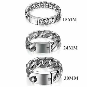 Mens Masculine Polished Stainless Steel Heavy Large Biker ID Curb Chain Bracelet