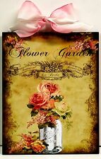 Shabby Cottage Chic Roses and Canning jar Flower Garden Custom Wood Wall Plaque