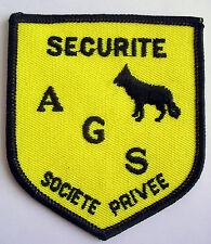 FRANCE: écusson insigne sécurité société privée, tissu neuf AGS, 80 x 70 mm.