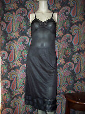 Vintage Jcpenney Black Silky Nylon Empire Slip Nighty Lingerie 32