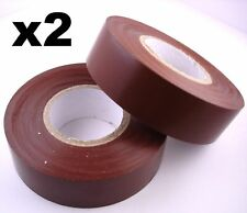 2x 20m Rolls of High Quality PVC Insulation Tape BROWN