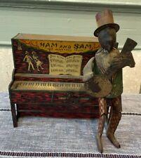 """Antique Ham and Sam """"The Minstrel Team"""" Tin Wind-Up Toy ~ Ferdinand Strauss"""