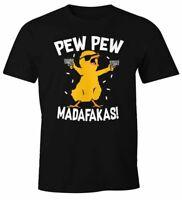 Herren T-Shirt Pew Pew Madafakas Crazy Chick Küken Meme Spruch Trend Fun-Shirt