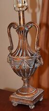 VICTORIAN STYLE TABLE LAMP ANTIQUED GOLD FINISH HANDLES LAUREL SWAG MELON FOOTED