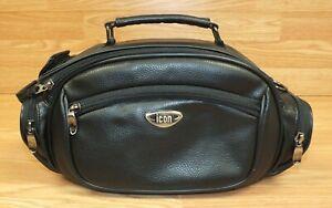 Genuine icon Black Leather Camcorder & Accessory Bag - Multi Pockets! w/ Strap