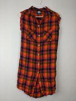 Kavu Button Down Dress, Orange Plaid, Women's Small