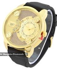 mens big gold tone clubbing watch gold bling dial black strap designer