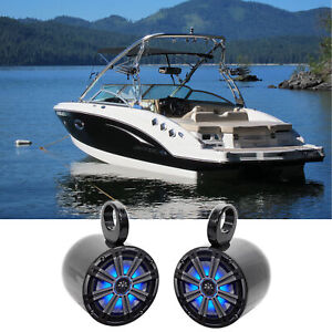 "Pair KICKER 45KM84L 8"" 600 Watt Marine Boat Wakeboard Tower Speakers w/LED's KM8"