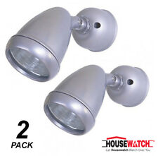 2 x Silver Outdoor Halogen Floodlights 100W G9 240V Wall or Ceiling Mount
