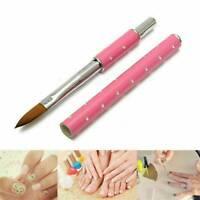 1* Acrylic Nail Brush Nail Caring Tool Kolinsky Sable Hair Pink Metal Handle