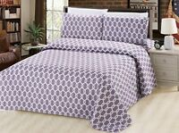 Bamboo 3 Pieces Duvet Cover Set, White Hexagonal, Grey and White, King Size
