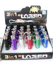 3 Pezzi Mini Portatile 3In1 Laser LED Torcia Elettrica UV Portachiavi Puntatore