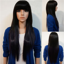 "Incredible Women's 26"" Black Straight Layered With Bangs Hair Long Wigs"