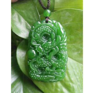 Green Natural Jade Pendant Dragon Jade Statue Amulet jade Necklace Hand Carving
