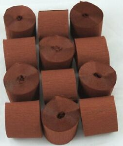 12 Mid Brown Crepe paper EACH Streamer 45mm x 10metres quauliy decoration