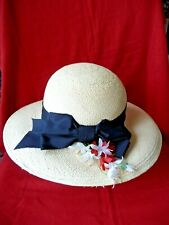 New listing Vintage Hat Georgette Natural Woven Straw with Black Ribbon Floral Side