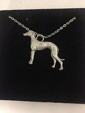 """Greyhound PP-D22 English Pewter on a Silver Platinum Plated Necklace 18"""""""