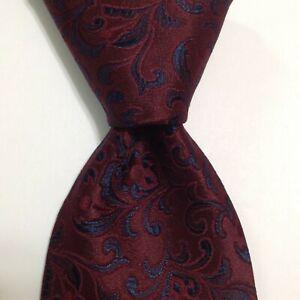 BRIONI Men's 100% Silk XL Necktie ITALY Luxury Designer FLORAL Wine/Blue EUC
