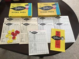Yahtzee Game NOS Score Pads Sheets Replacement Chips, Instruction Lot of 9