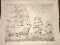 "Thomas Delevett Original Art Etching 65/300 Edition ""TALL SHIPS"" Signed 13X17"""