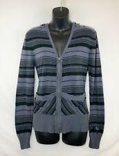 Roxy Juniors/Women's LS Gray Full Zip Sweater w Black Stripes! 2 Pkt. Logo. Sz S