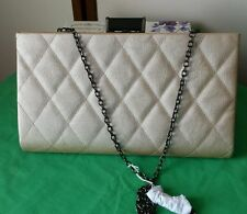 Ladies Vintage Evening Bag Champagne Pearlized Quilted with chain