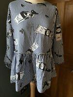 Zara Blue striped smock style top Size M