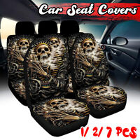 1/2/7X Universal Car Seat Covers Set Skull Pharaoh Seat Cover Protect Washable