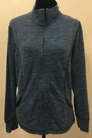 Silverwear Womens Full Zip Athletic Track Jacket Mock Neck Large Blue Cotton