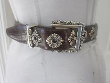 Brighton Ladies Brown 100% Leather Belt w/ Intricate Silver Detailing Sz S