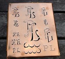 """Monogramm """" PL """" Wäschemonogramm Wäscheschablone Wäschezeichen 11/13 cm KUPFER"""