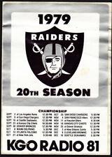Oakland Raiders Rare 1979 Schedule Sticker Kgo Radio Promo vintage