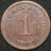 1889 E | Germany Empire 1 Pfennig | Copper | Coins | KM Coins