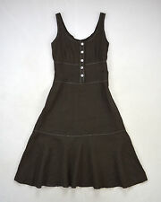 "Eva Tralala Brown Linen Peasant Midi Shift Dress Made in France Size M 30"" Waist"