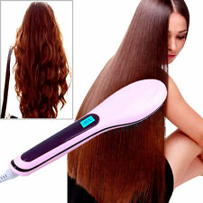 Pink LCD Electric Hair Straightener Comb Hot Iron Brush Fast Hair Massager AS