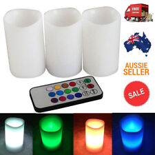 AU 3pcs Remote Control Changing LED Lavender Flameless RC Candles Light Decor